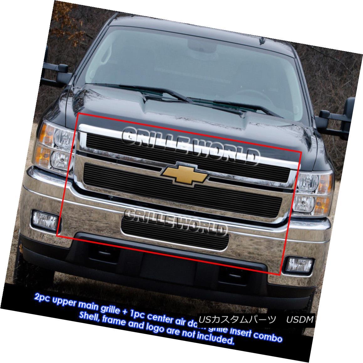 グリル Chevy Silverado 2500HD/3500HD Black Billet Grille Grill Combo Insert 2011-2014 Chevy Silverado 2500HD / 3500HDブラックビレットグリルグリルコンボインサート2011-2014