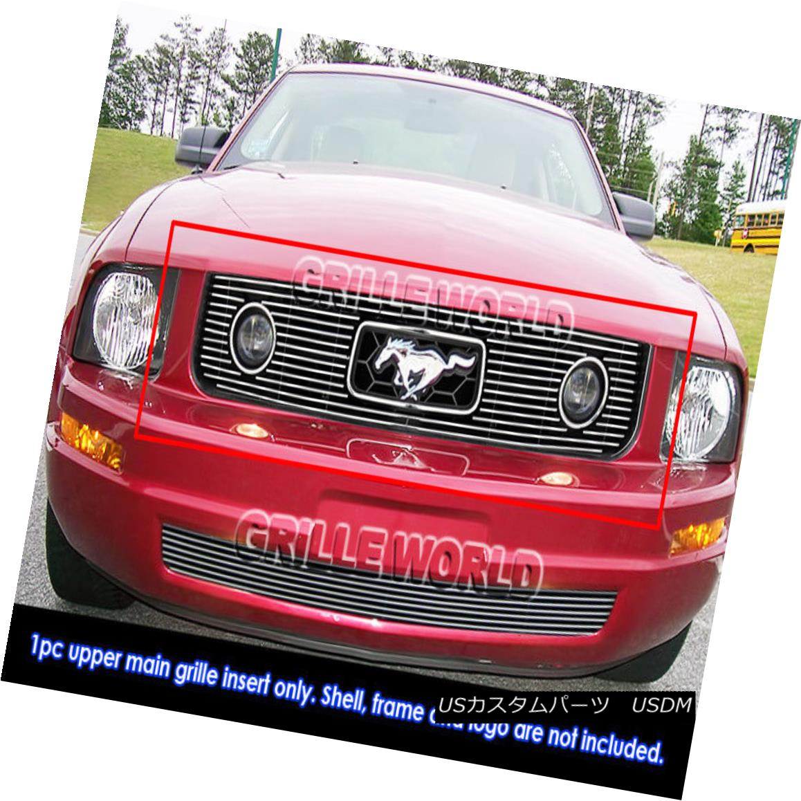 グリル Fits 2005-2009 Ford Mustang V6 Only Fit Pony Package Billet Grille Grill Insert フィット2005-2009フォードマスタングV6のみフィットポニーパッケージビレットグリルグリルインサート