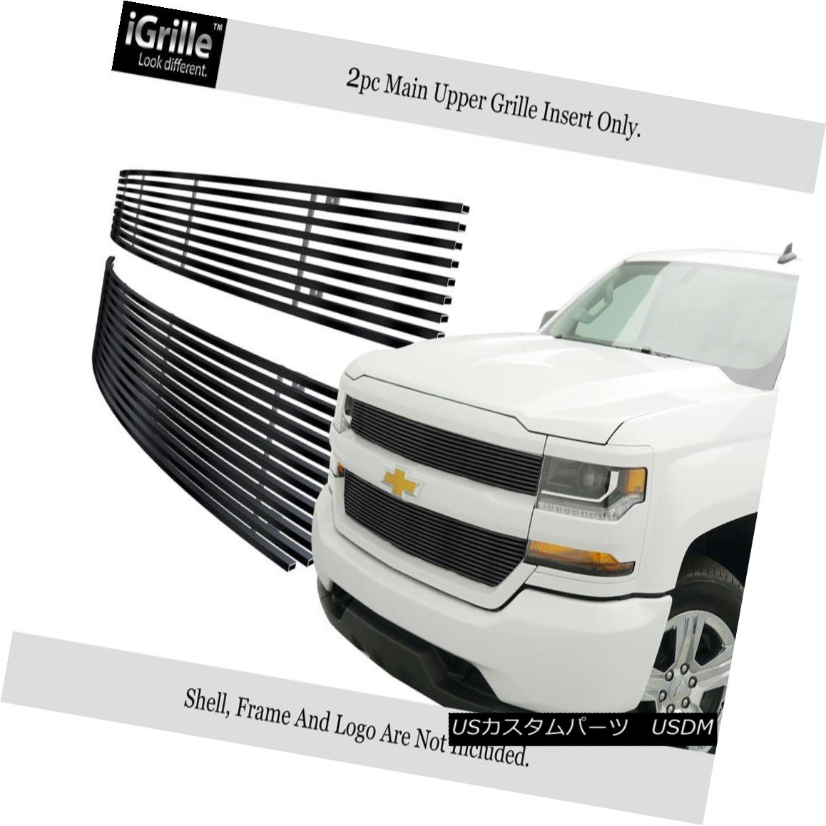 グリル For 2016-2018 Chevy Silverado 1500 Reg Model Stainless Black Billet Grille 2016-2018 Chevy Silverado 1500 Regモデルステンレスブラックビレットグリル