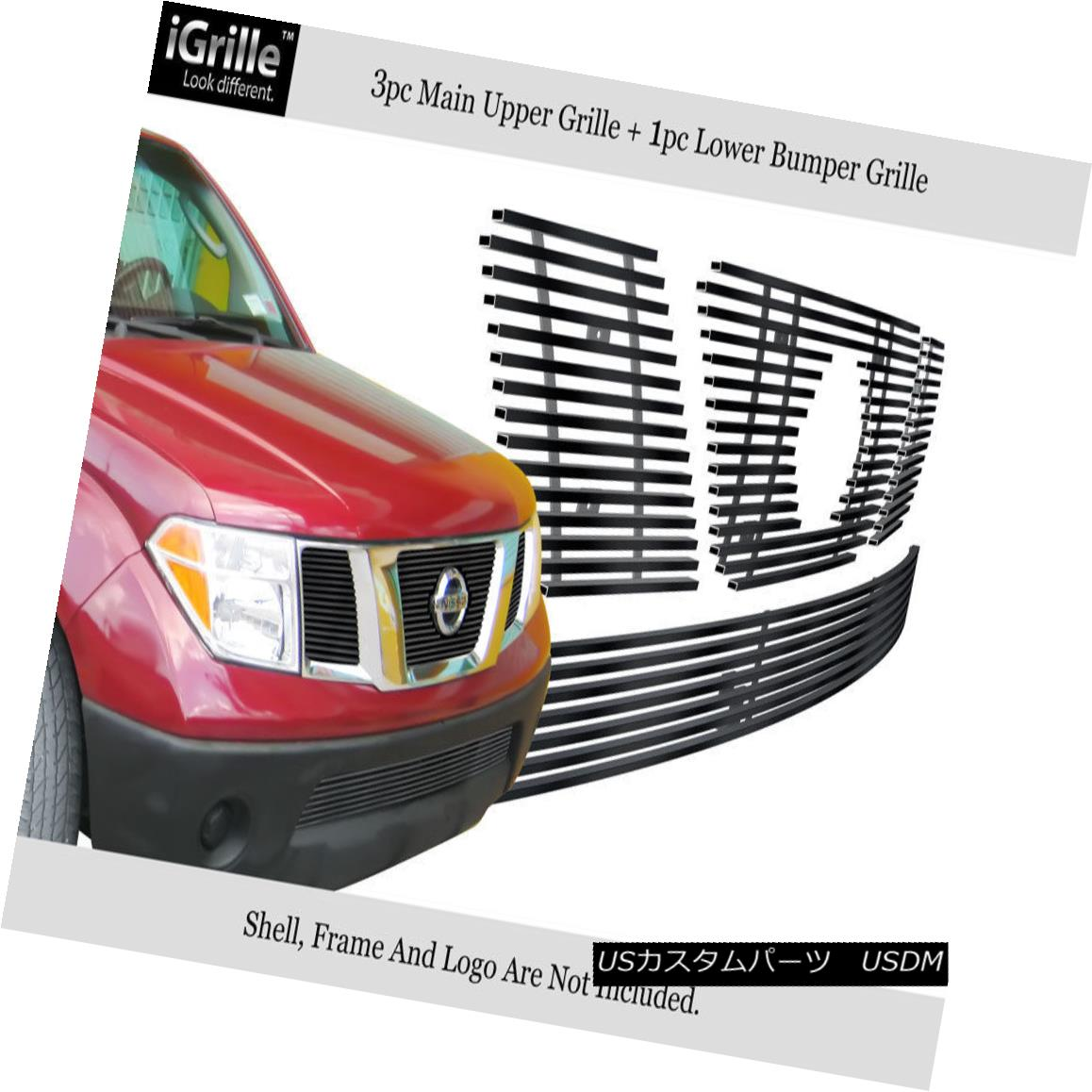 グリル Fits 05-07 Nissan Pathfinder/05-08 Frontier Stainless Black Billet Grille Combo フィット05-07日産パスファインダー/ 05- 08フロンティアステンレスブラックビレットグリルコンボ