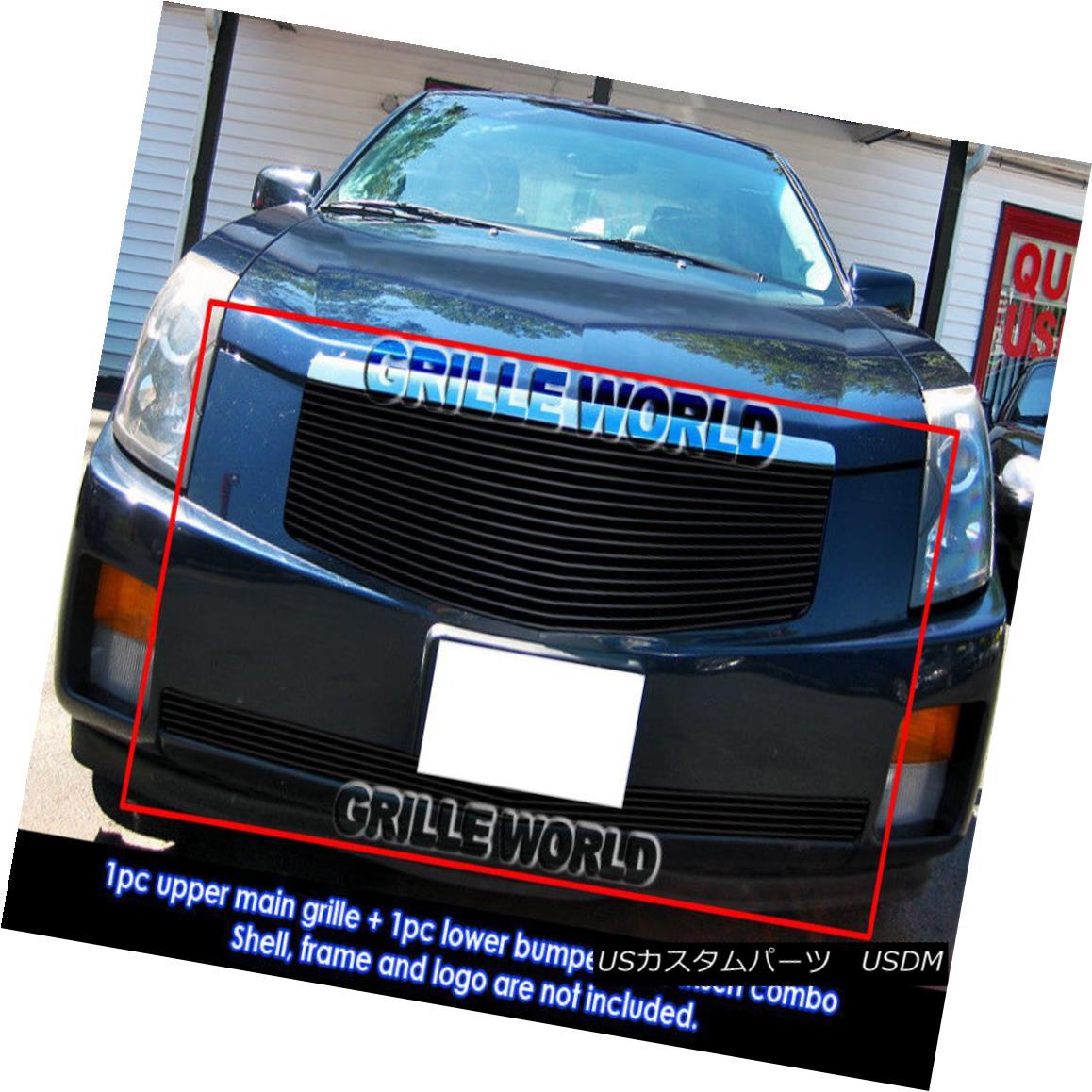 グリル Fits 03-07 Cadillac CTS Black Billet Grille Grill Combo Insert フィット03-07キャデラックCTSブラックビレットグリルグリルコンボインサート