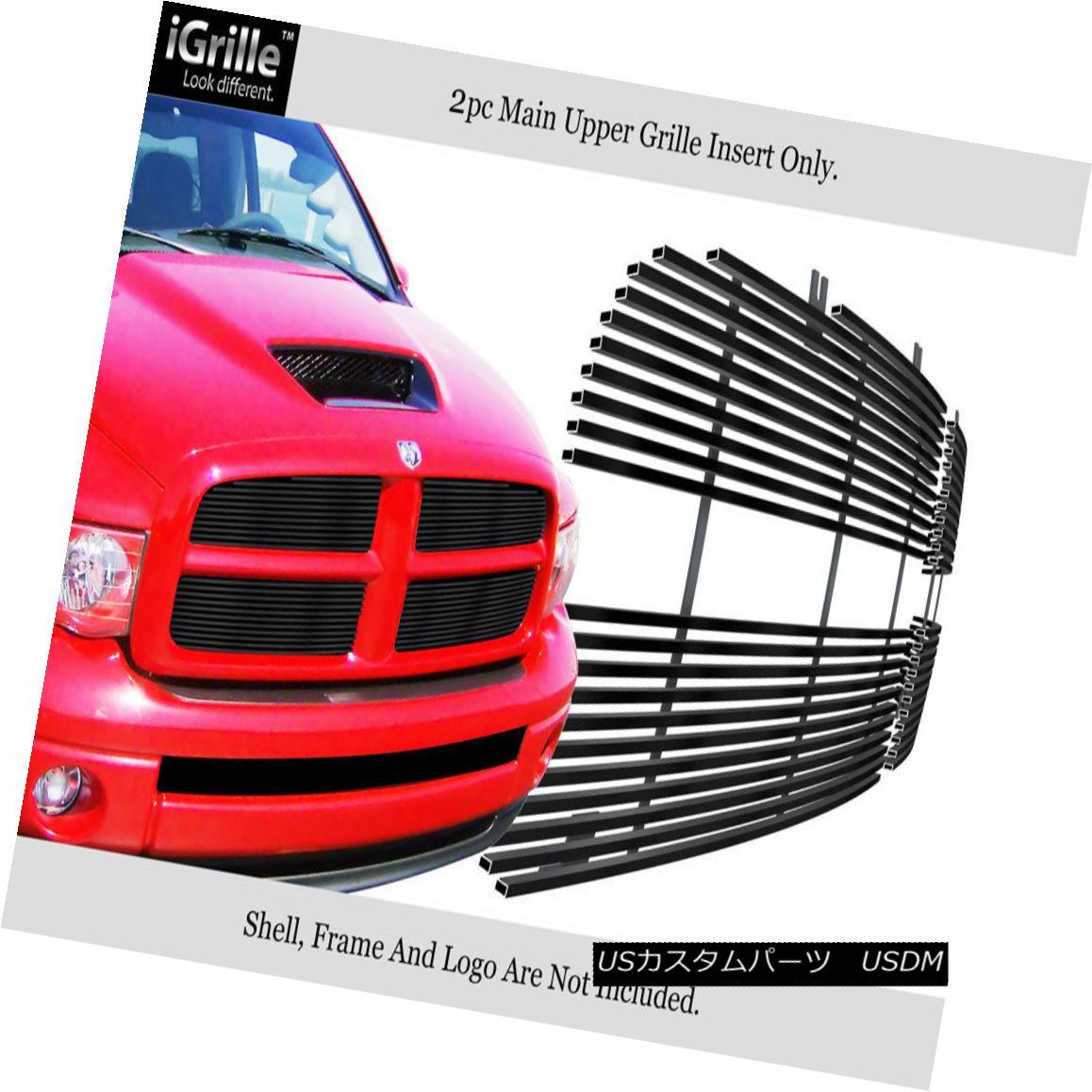 グリル Fits 2002-2005 Dodge Ram Black Stainless Steel Billet Grille Grill Insert フィット2002-2005ダッジラムブラックステンレス鋼ビレットグリルグリルインサート