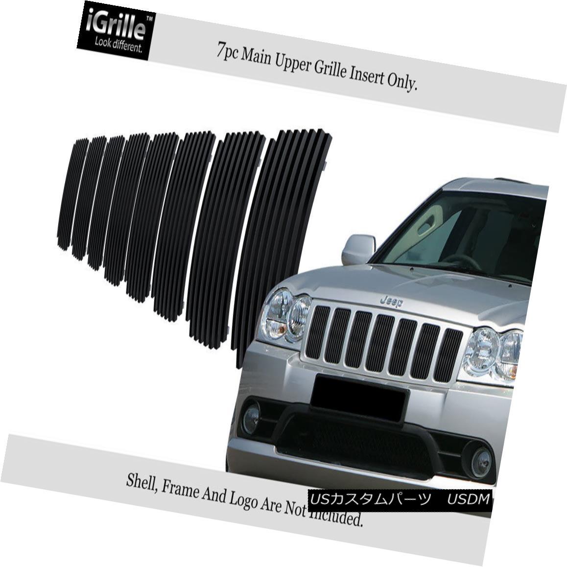 グリル For 2006-2008 Jeep Grand Cherokee Stainless Steel Black Billet Grille 2006-2008ジープグランドチェロキーステンレススチールブラックビレットグリル