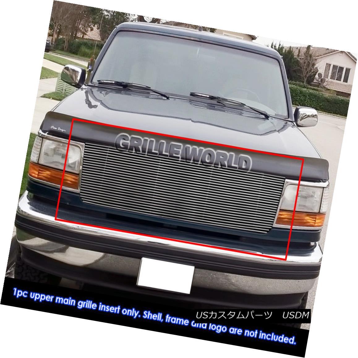 グリル Fits 92-96 Ford Bronco/F150/F250/F350 Black High Density Billet Grille Grill フィット92-96 Ford Bronco / F150 / F2 50 / F350ブラック高密度ビレットグリルグリル