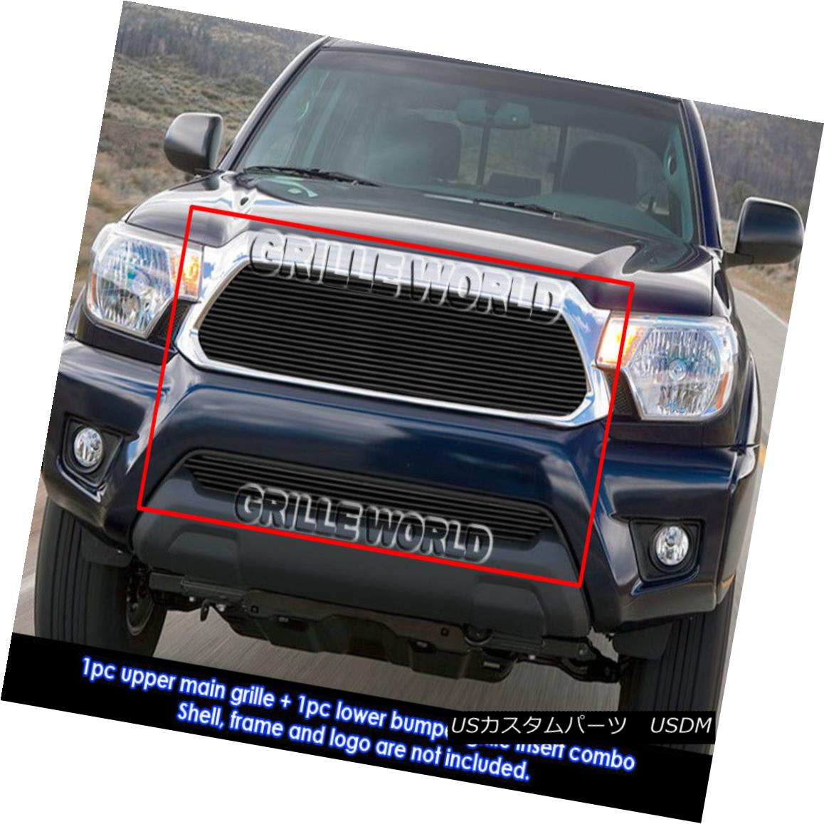 グリル For 2012-2015 Toyota Tacoma Black Billet Grill Insert Combo 2012-2015トヨタタコマブラックビレットグリルインサートコンボ用