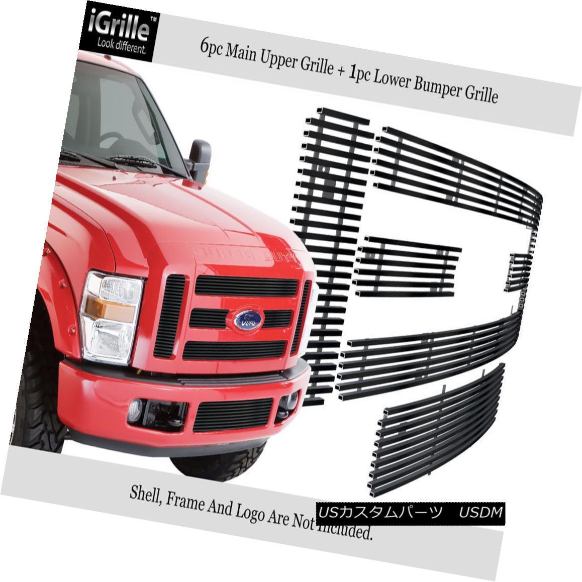 グリル Fits 2008-2010 Ford F250/F350 SD Stainless Steel Black Billet Grille Combo フィット2008-2010フォードF250 / F350 SDステンレス鋼ブラックビレットグリルコンボ