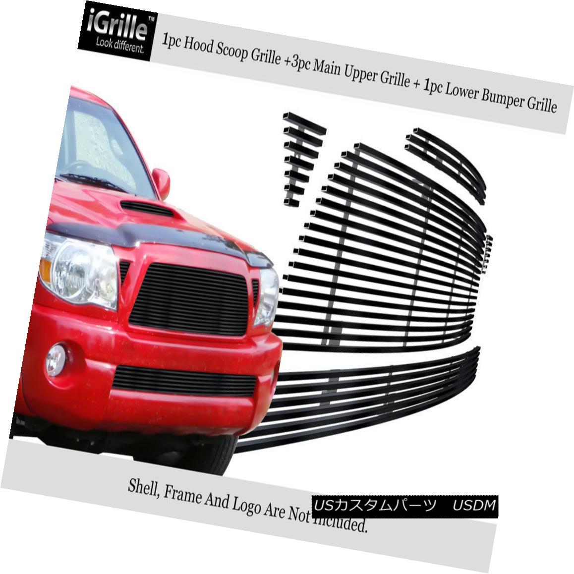 グリル For 2005-2010 Toyota Tacoma Stainless Steel Black Billet Grille Combo トヨタタコマステンレススチールブラックビレットグリルコンボ2005-2010用