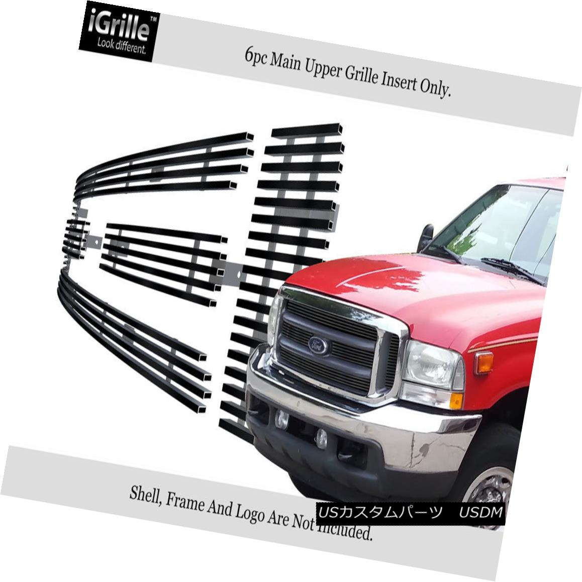 グリル For 1999-2004 Ford F-250/F-350/F-450 Black Stainless Steel Billet Grille 1999-2004フォードF-250 / F-350 / F- 450ブラックステンレス鋼ビレットグリル