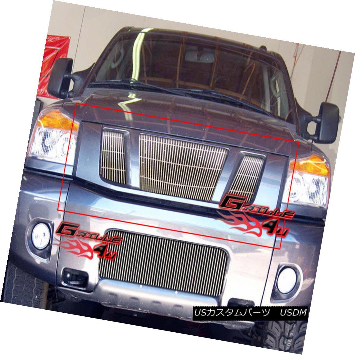 グリル Fits 2008-2015 Nissan Titan Vertical Billet Grille Insert フィット2008-2015日産タイタン垂直ビレットグリルインサート