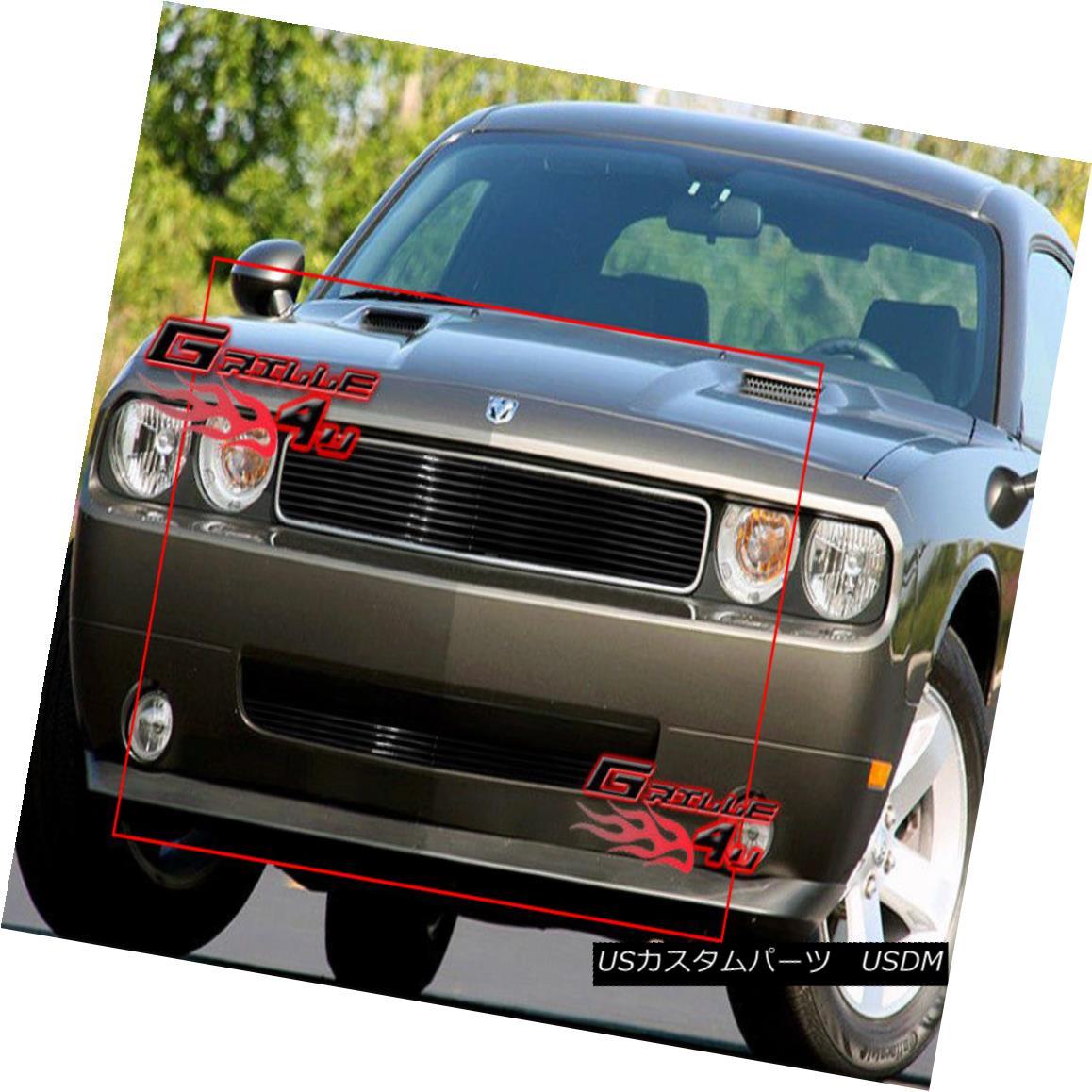 グリル For 09-10 Dodge Challenger Black Billet Grille Combo 09-10ダッジチャレンジャーブラックビレットグリルコンボ用