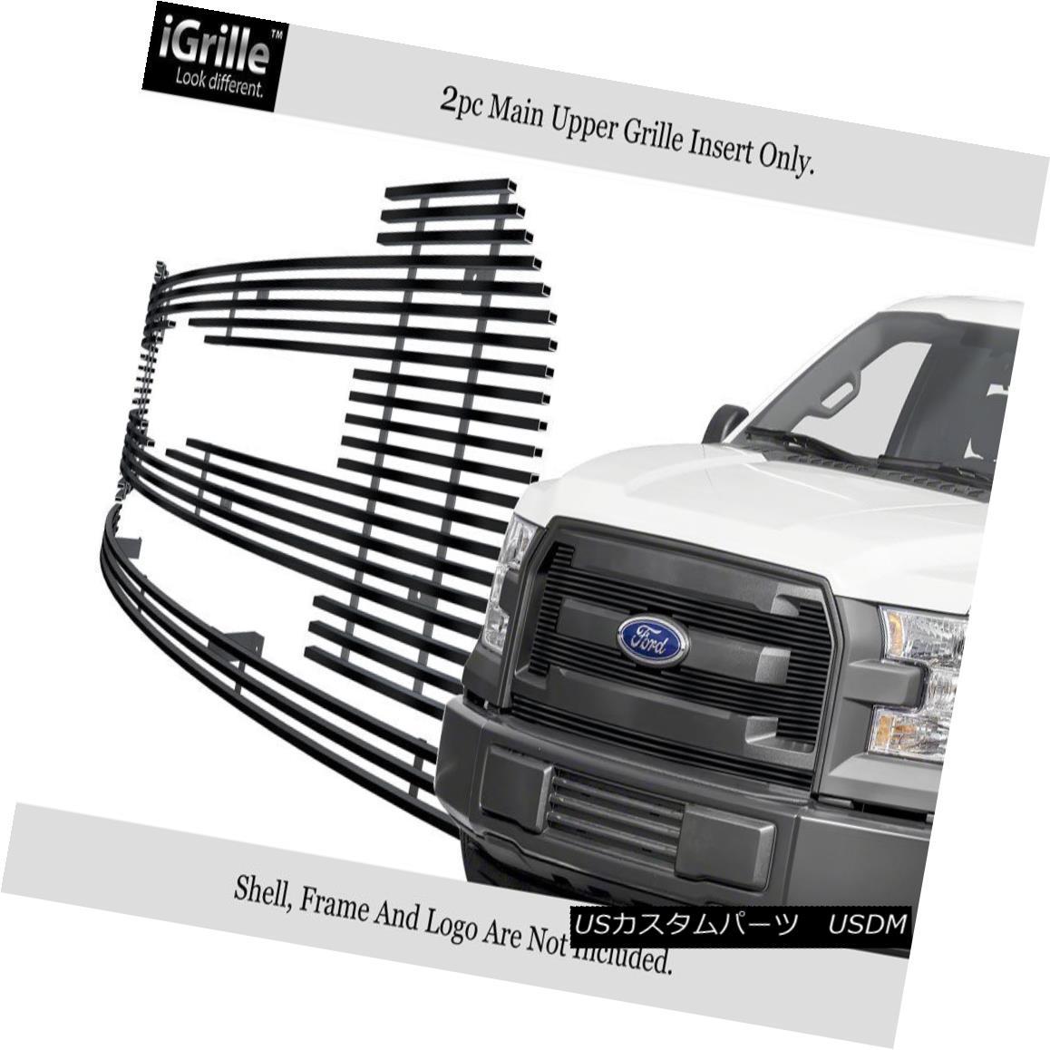 グリル For 2015-2017 Ford F-150 XL Model Stainless Steel Black Billet Grille 2015-2017フォードF-150 XLモデルステンレススチールブラックビレットグリル