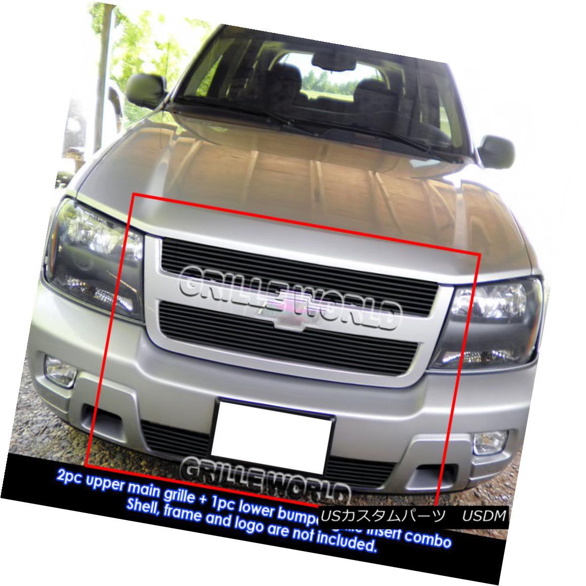 グリル For 2006-2009 Chevy Trailblazer LT Black Billet Grille Grill Combo Insert 2006-2009シボレートレイルブレイザーLTブラックビレットグリルグリルコンボインサート