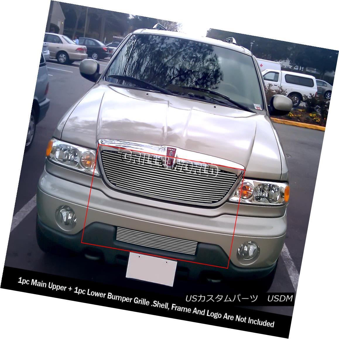 グリル For 1998-2002 Lincoln Navigator Upper and Lower Billet Grille Combo 1998?2002年リンカーンナビゲーター上・下ビレットグリルコンボ