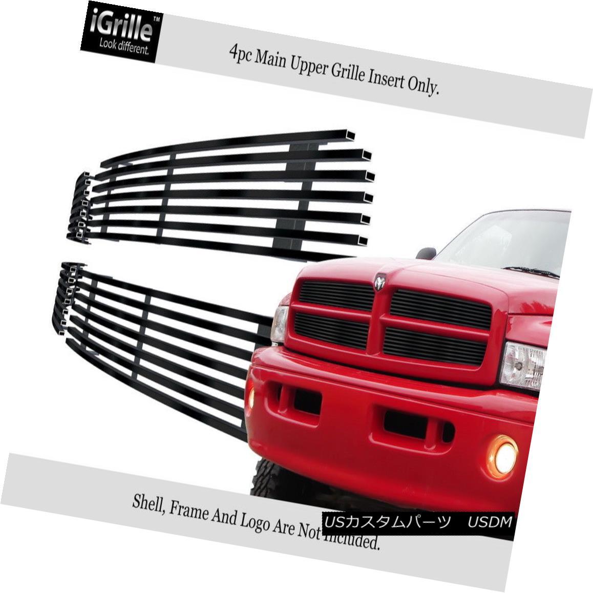 グリル Fits 1999-2001 Dodge Ram Sport Stainless Steel Black Billet Grille Grill Insert フィット1999-2001ダッジラムスポーツステンレス鋼ブラックビレットグリルグリルインサート