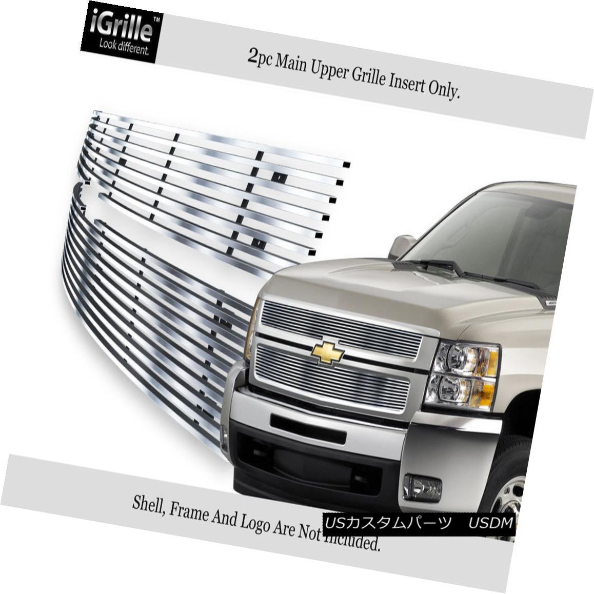 グリル Fits 07-10 Chevy Silverado 2500/3500 Stainless Steel Billet Grille Insert フィット07-10 Chevy Silverado 2500/3500ステンレス鋼ビレットグリルインサート