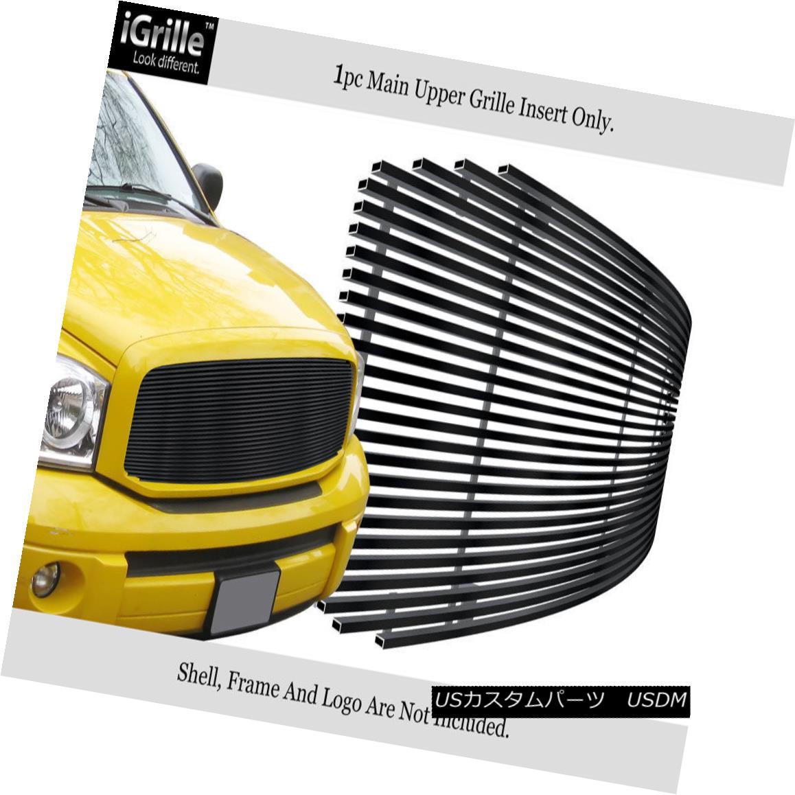 グリル For 2006-2008 Dodge Ram 1500/2500/3500 Black Stainless Steel Billet Grille 2006-2008ダッジラム1500/2500/3500ブラックステンレス鋼ビレットグリル用