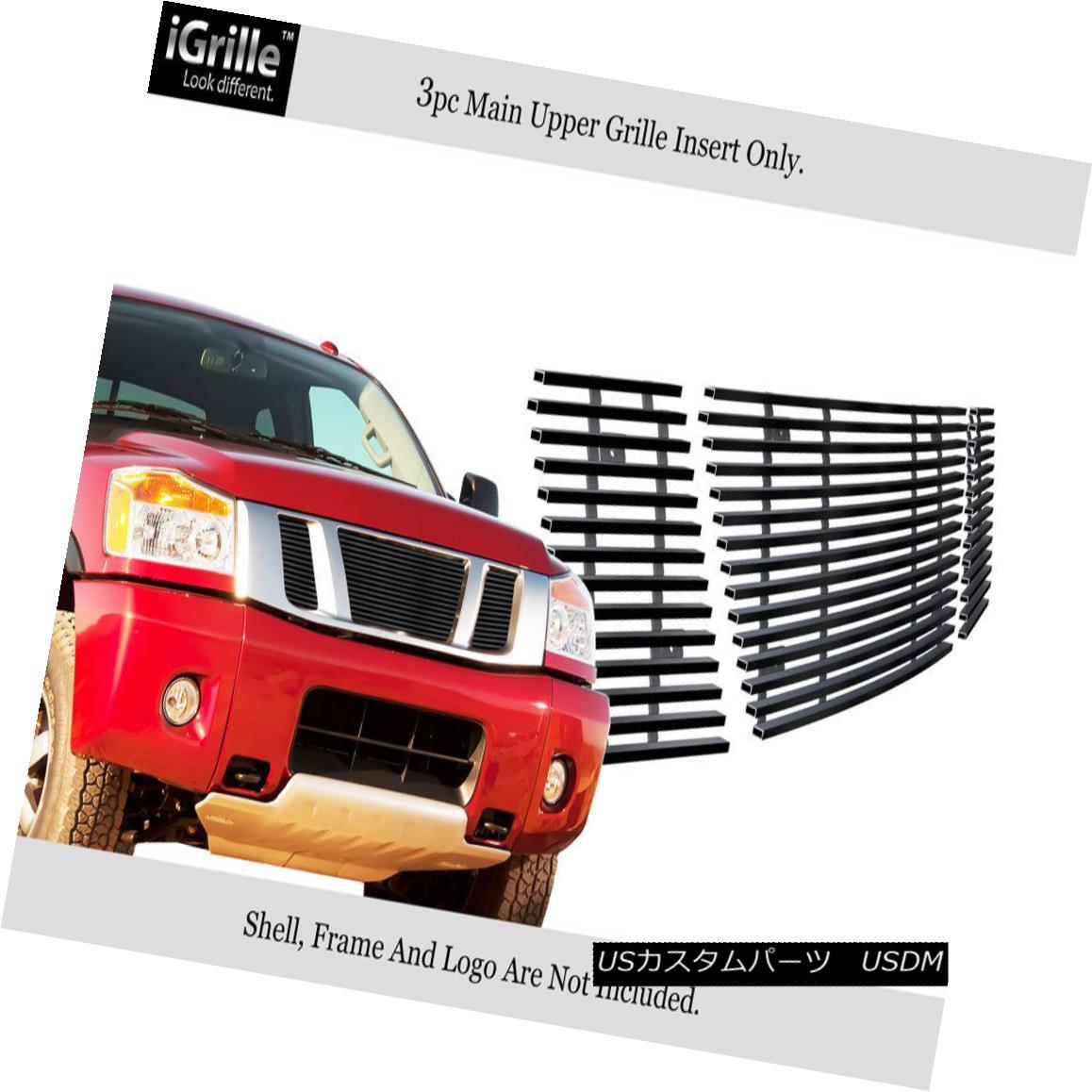 グリル For 2008-2014 Nissan Titan Black Stainless Steel Billet Grille Grill Insert 日産タイタンブラックステンレス鋼のビレットグリルグリルインサート