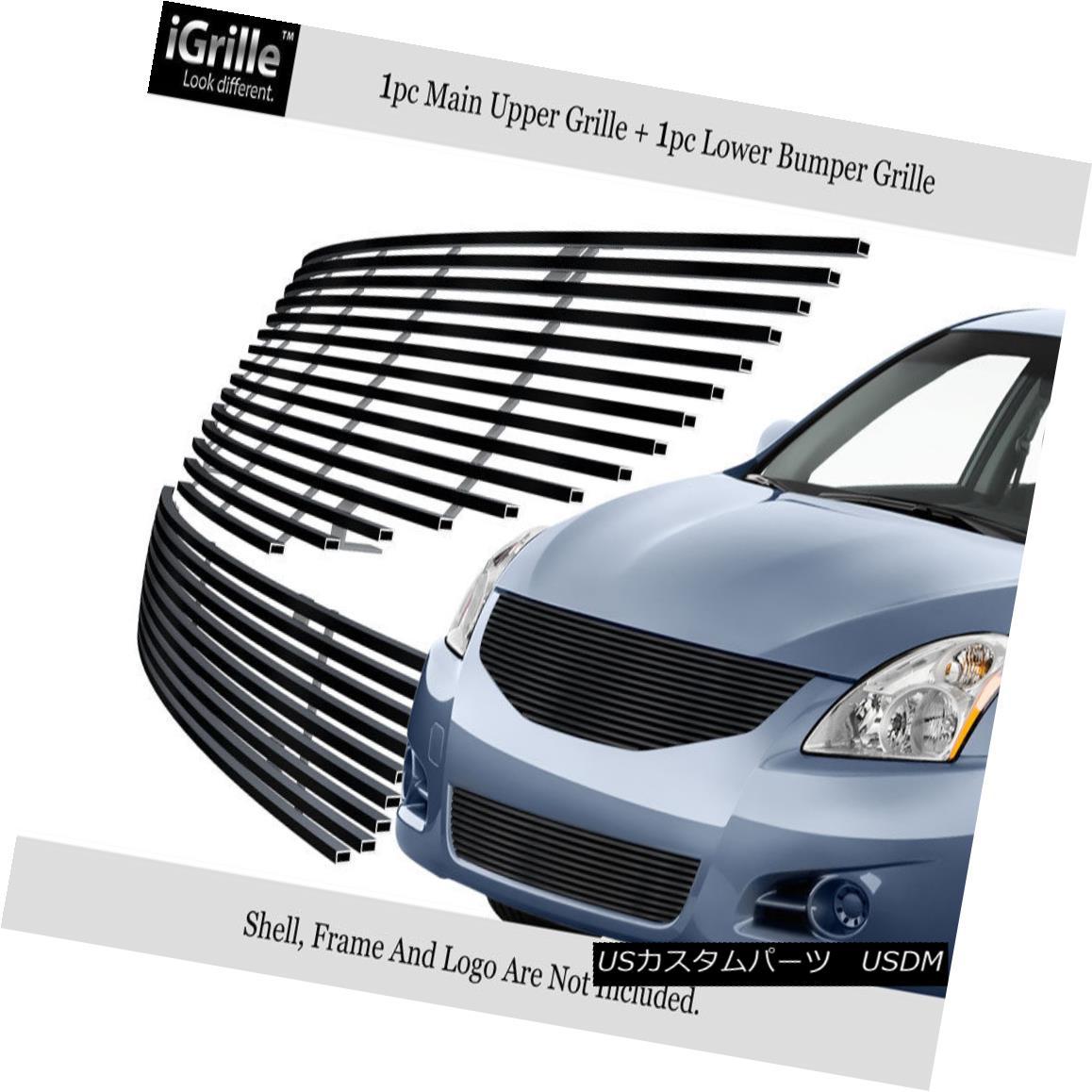 グリル Fits 2010-2012 Nissan Altima Sedan Stainless Black Billet Grille Combo フィット2010年?2012年日産アルティマセダンステンレスブラックビレットグリルコンボ