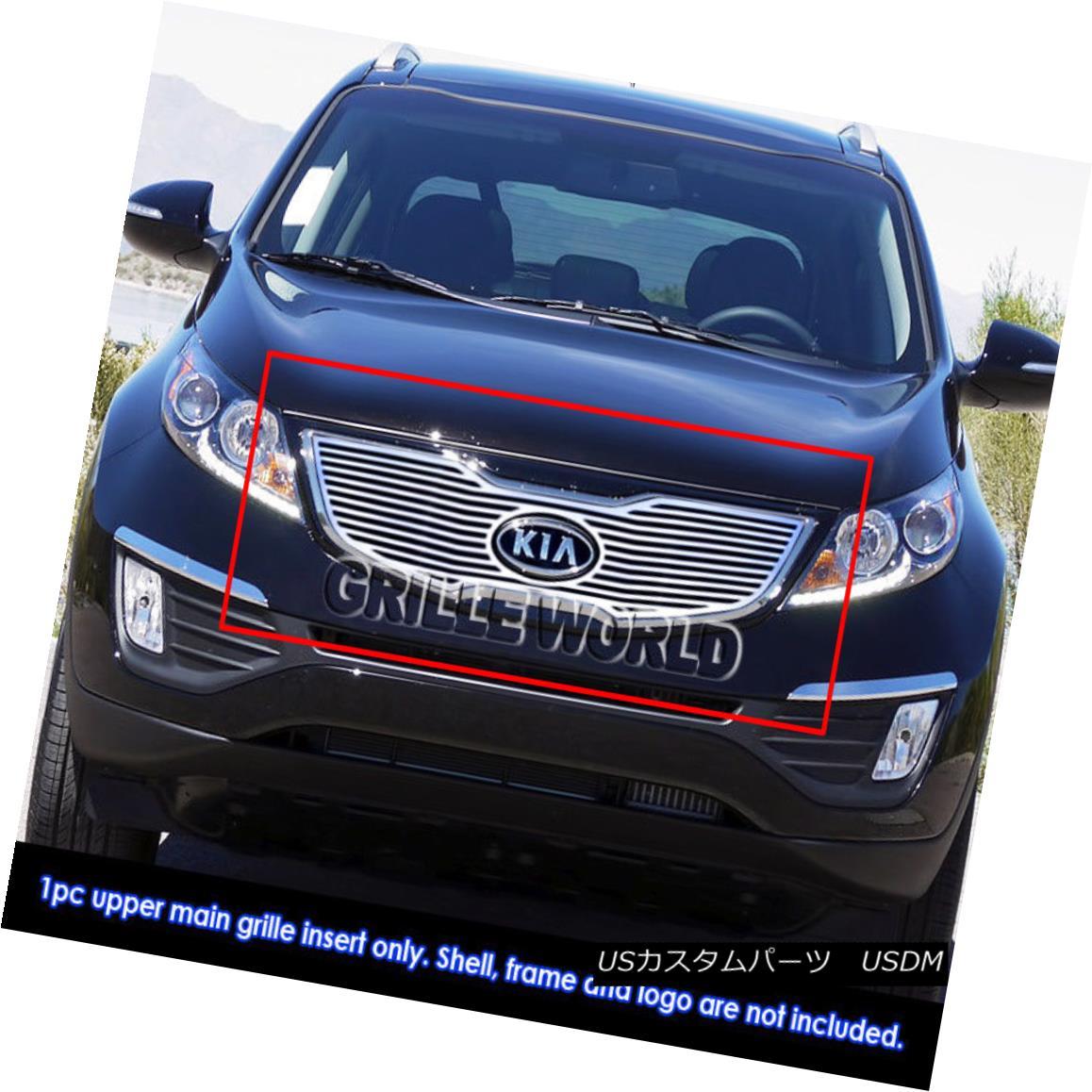 グリル Fits 2011-2014 Kia Sportage SX Perimeter Main Upper Grille Insert 2011-2014年に合うKia Sportage SXペリメーターメインアッパーグリルインサート