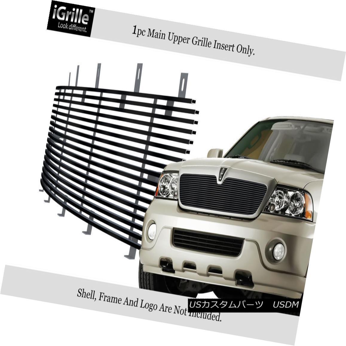 グリル Fits 03-04 Lincoln Navigator Black Stainless Steel Billet Grille Insert フィット03-04リンカーンナビゲーターブラックステンレス鋼ビレットグリルインサート