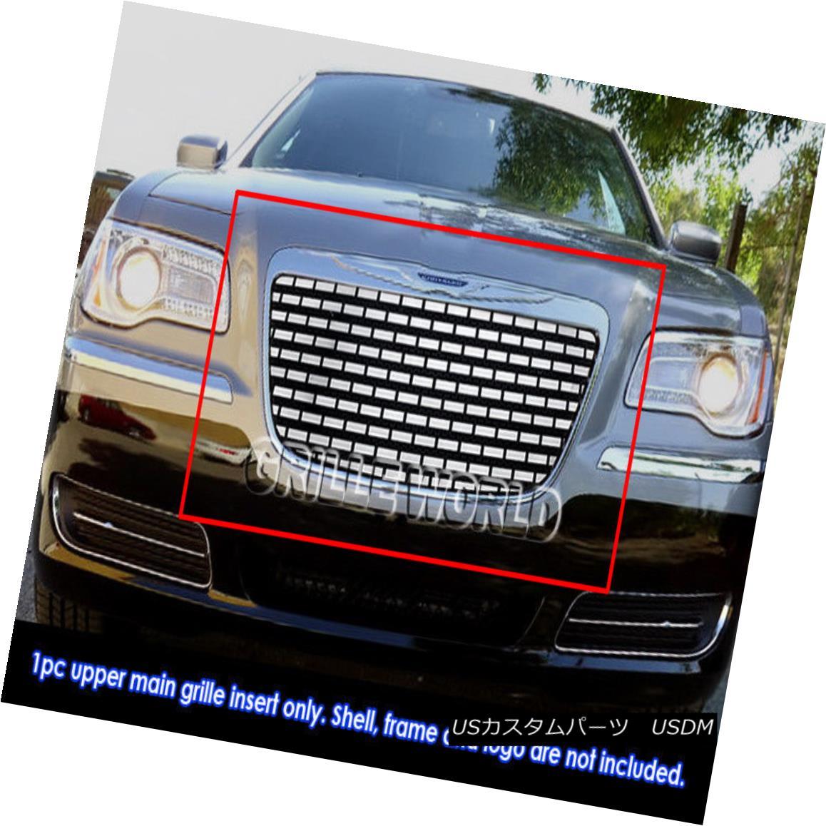 グリル Fits 2011-2014 Chrysler 300/300C Stainless Steel Symbolic Grille Insert 適合2011-2014クライスラー300 / 300Cステンレススチールシンボリックグリルインサート