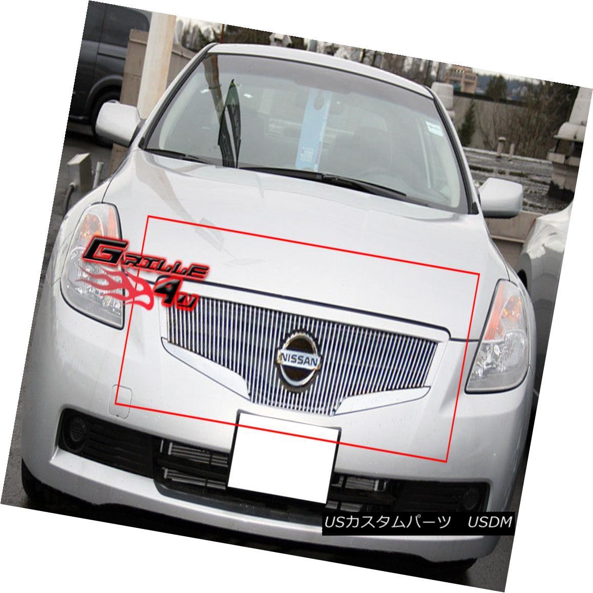 グリル Fits 2007-2009 Nissan Altima Vertical Billet Main Upper Grille Insert フィット2007-2009日産アルティマ垂直ビレットメインアッパーグリルインサート