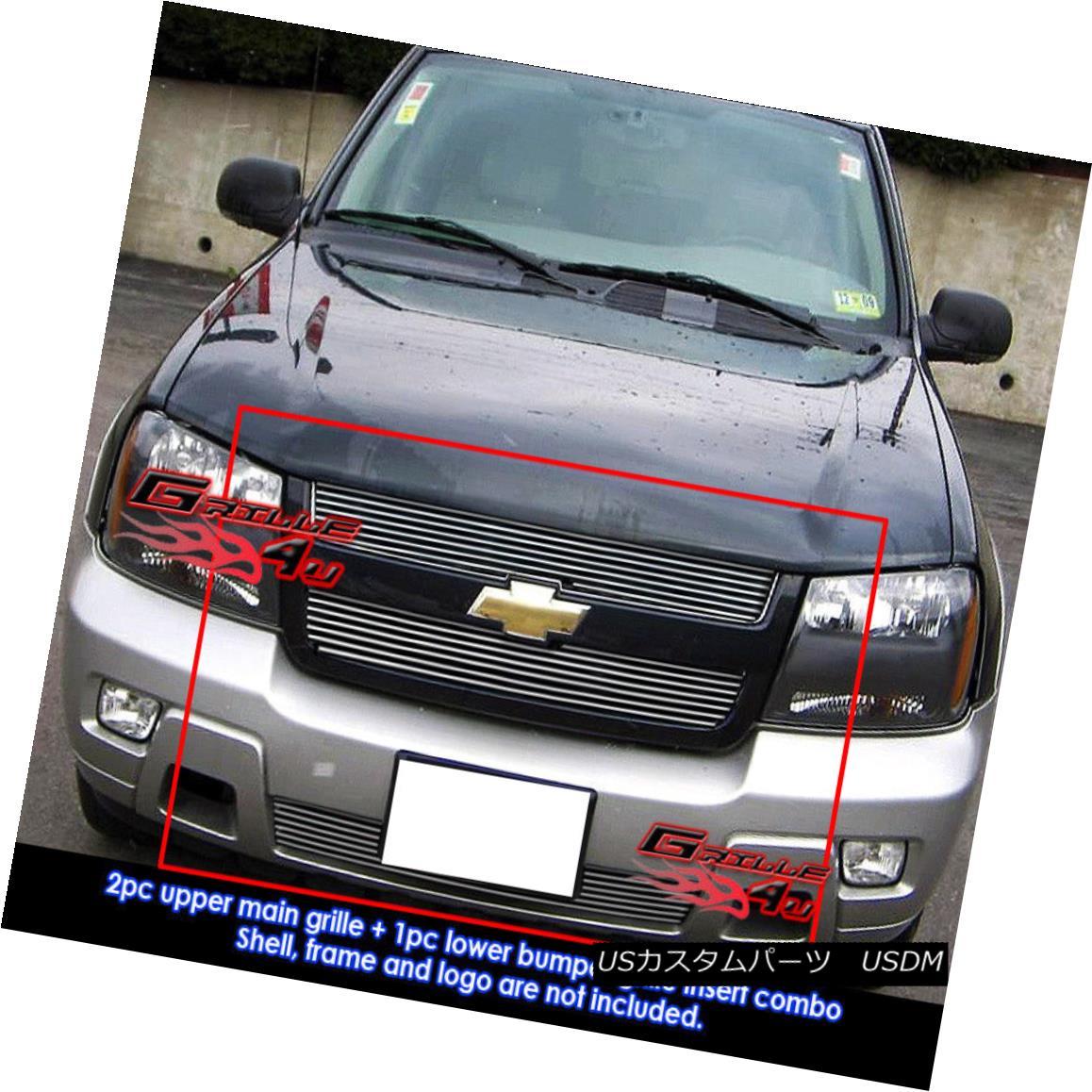 グリル Fits 2006-2009 Chevy Trailblazer LT Billet Grille Combo Insert フィット2006-2009シボレートレイルブレイザーLTビレットグリルコンボインサート