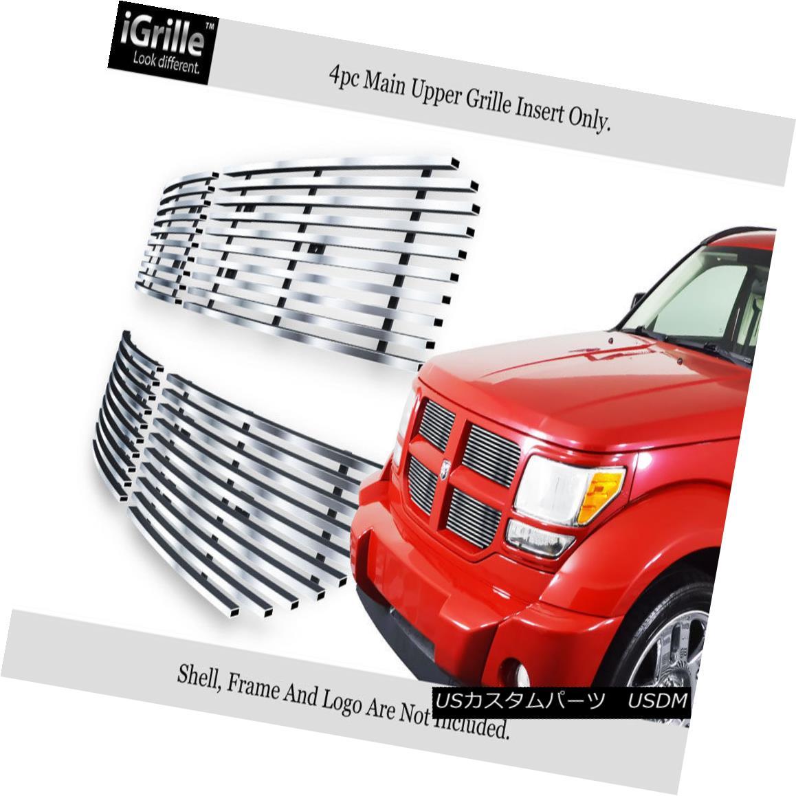 グリル Fits 2007-2011 Dodge Nitro Stainless Steel Billet Main Upper Grille Insert フィット2007年から1111ダッジニトロステンレス鋼ビレットメインアッパーグリルインサート