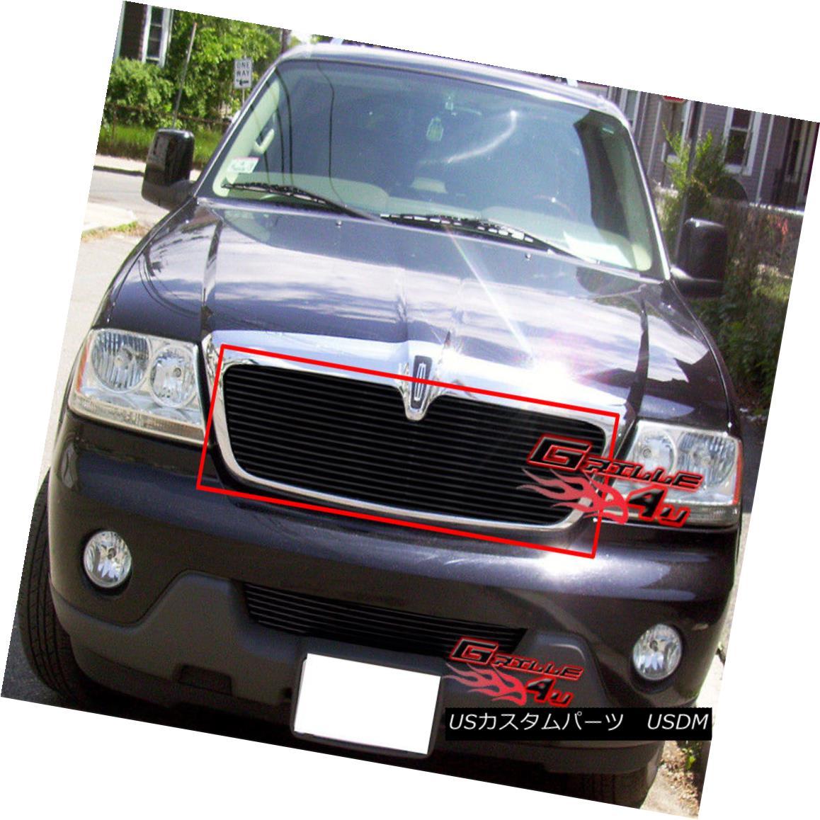 グリル Fits 2003-2006 Lincoln Aviator Black Billet Main Upper Grille Insert フィット2003-2006リンカーンアビエイターブラックビレットメインアッパーグリルインサート