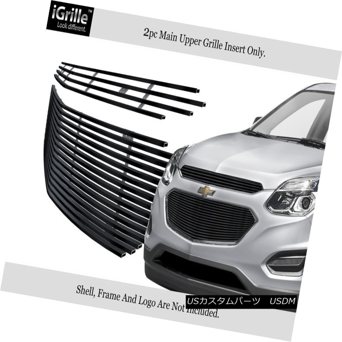 グリル Fits 2016-2017 Chevy Equinox Stainless Steel Black Billet Main Upper Grille 2016-2017 Chevy Equinoxステンレススチールブラックビレットメインアッパーグリルに適合