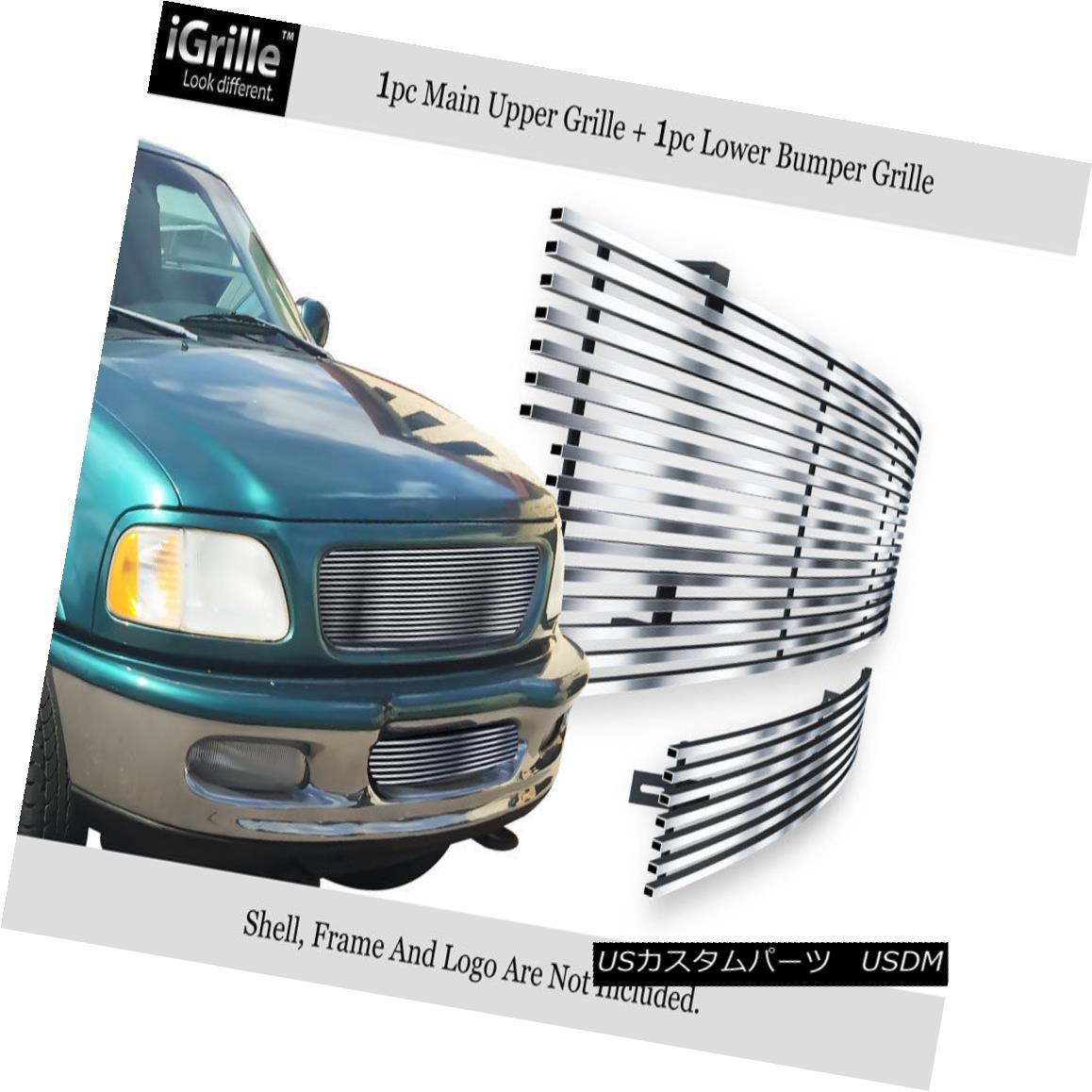 グリル For 97-98 Ford F-150 4 WD/Expedition 304 Stainless Steel Billet Grille Combo 97-98フォードF-150 4WD /遠征304ステンレス鋼ビレットグリルコンボ用