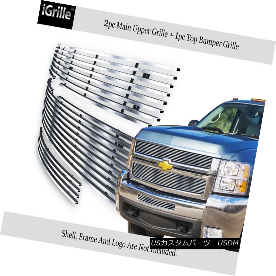グリル Fits 07-10 Chevy Silverado 2500/3500 304 Stainless Steel Billet Grille Combo フィット07-10シボレーシルバラード2500/3500 304ステンレス鋼ビレットグリルコンボ