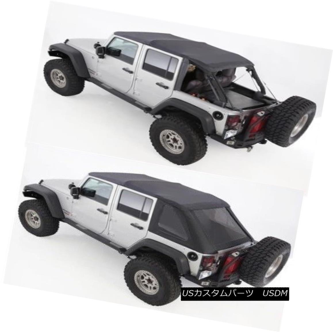 幌・ソフトトップ 07-18 soft top Jeep Wrangler UNLIMITED BLACK TINT Bowless top comes w/ hardware 07-18ソフトトップジープラングラー無制限ブラックトートボウレストップはハードウェア付き