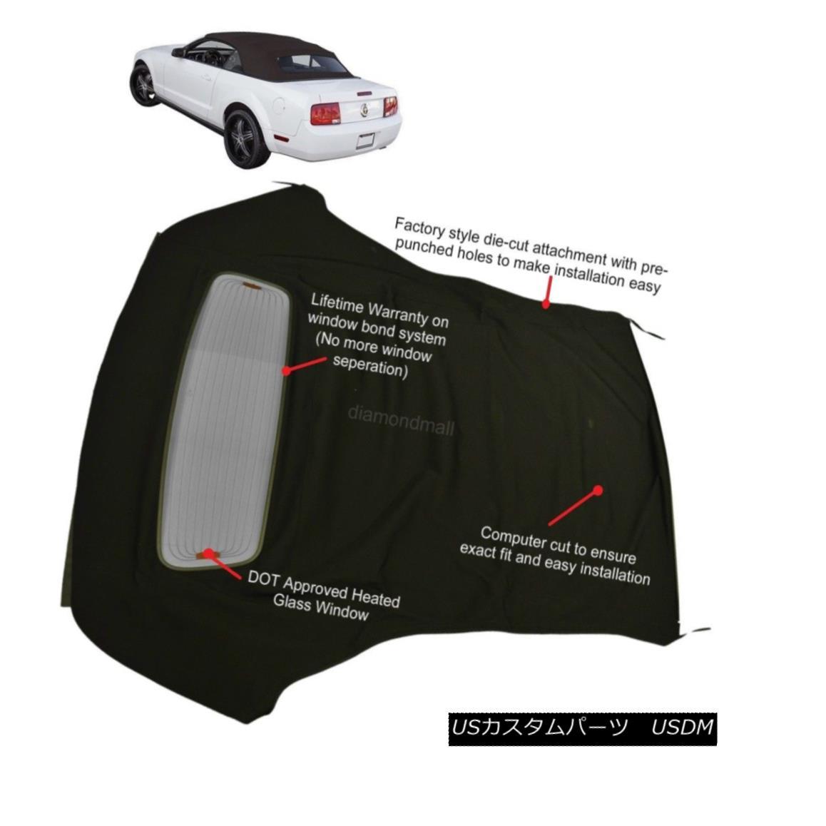 幌・ソフトトップ Ford Mustang 05-13 Convertible Soft Top & Defroster glass window Black Sailcloth フォードマスタング05-13コンバーチブルソフトトップ& デフロスターガラス窓黒帆布