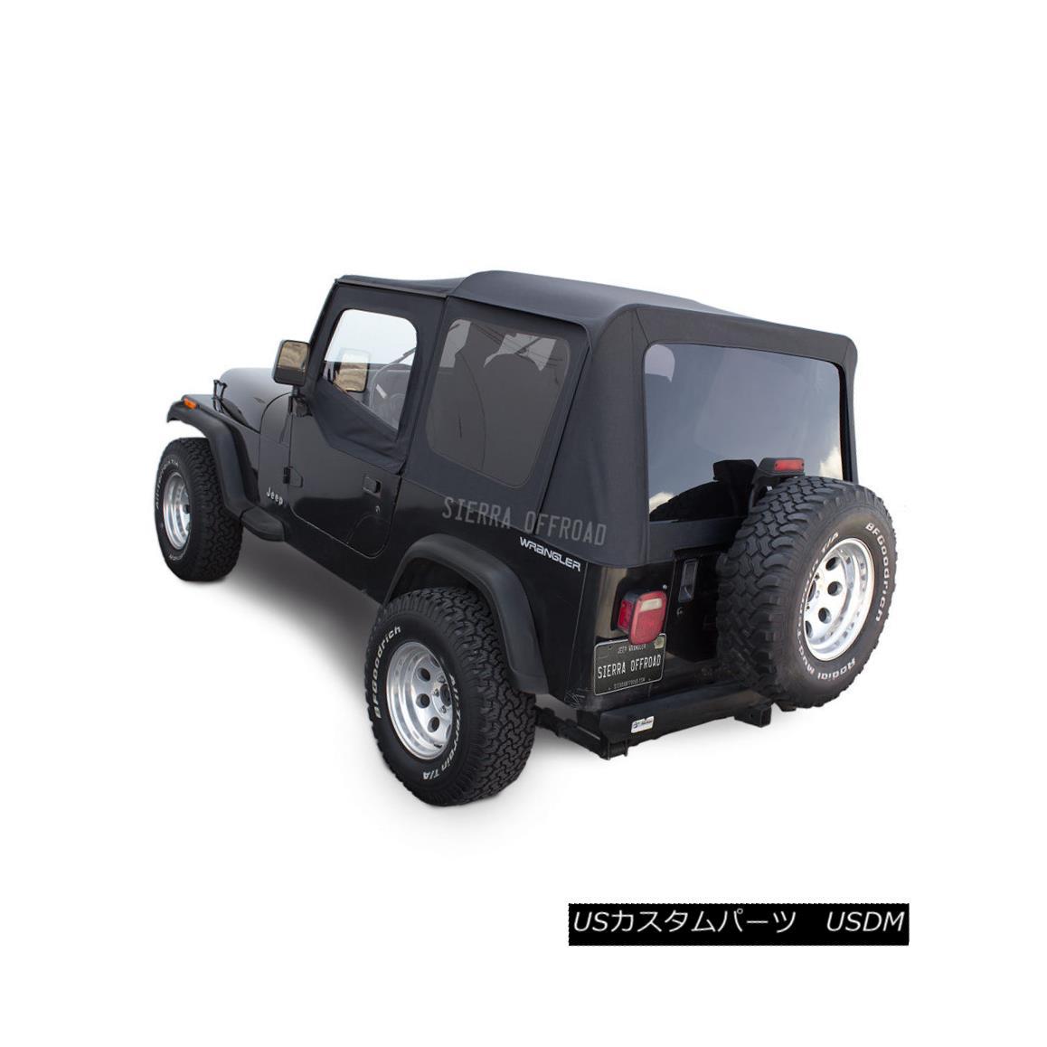 幌・ソフトトップ Jeep Wrangler YJ Soft Top, 88-95, Upper Doors, Tinted Windows, Black Denim ジープラングラーYJソフトトップ、88-95、アッパードア、ティンテッドウインドウ、ブラックデニム