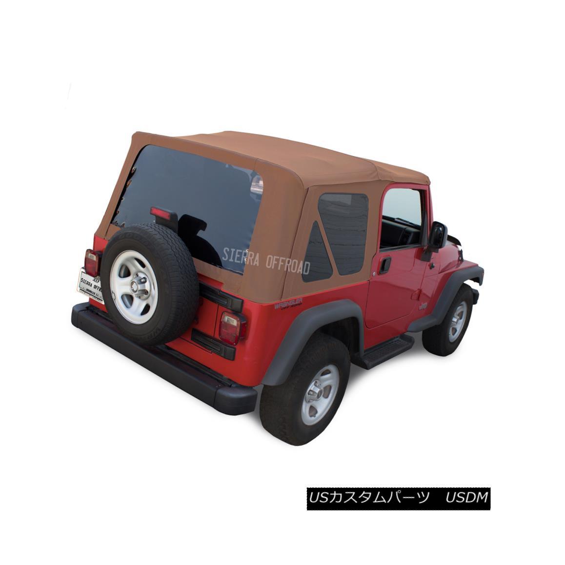 幌・ソフトトップ Jeep Wrangler TJ Soft Top, 03-06, Tinted Windows, Saddle Sailcloth ジープ・ラングラーTJソフトトップ、03-06、ティンテッド・ウインドウズ、サドル・セイルクロス