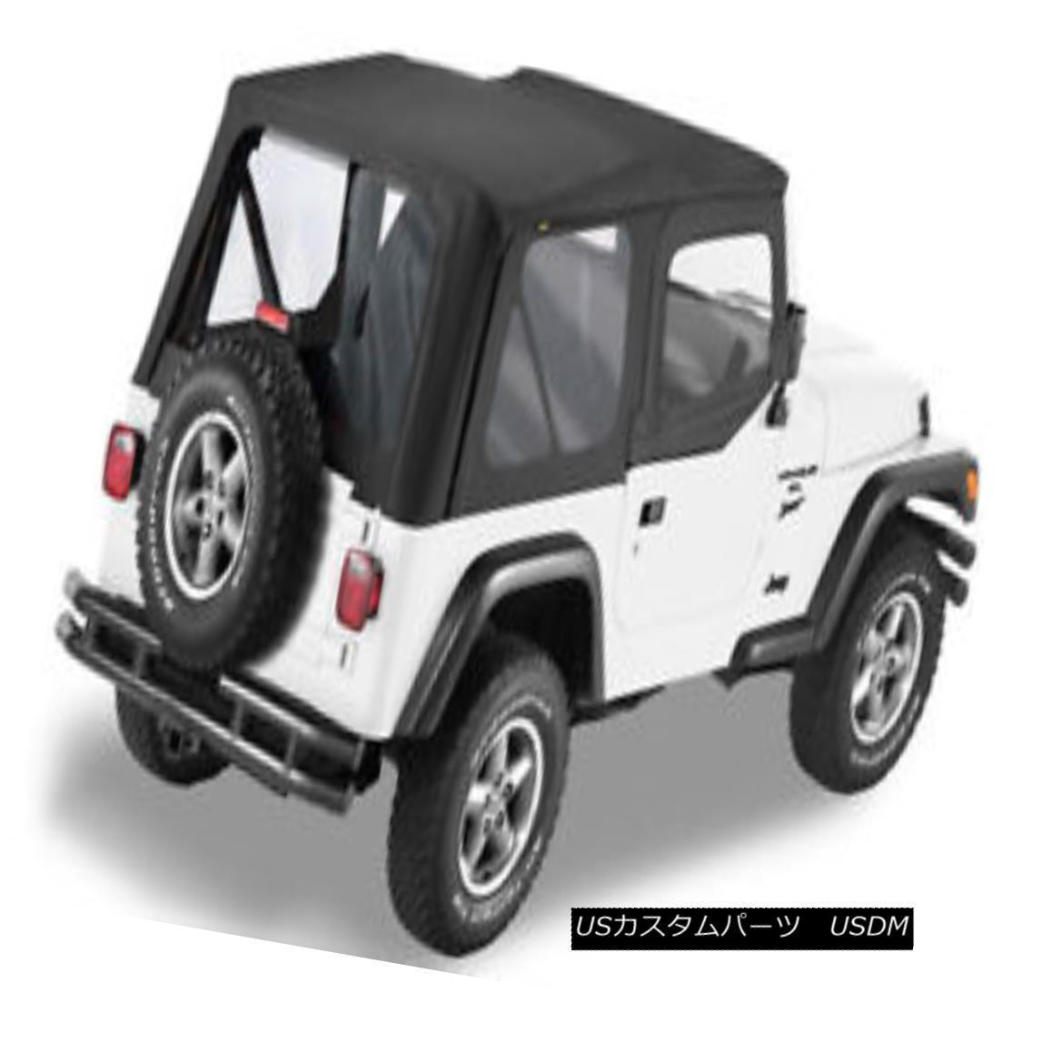 幌・ソフトトップ 1997-2006 Jeep Wrangler Replacement Black Soft Top Rear Clear Windows + Uppers 1997年から2006年のジープラングラー交換ブラックソフトトップリアクリアウィンドウ+アッパー