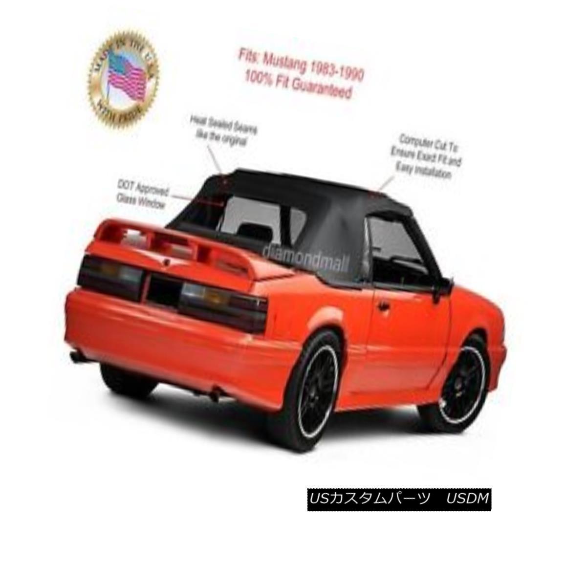 幌・ソフトトップ Ford Mustang Convertible Soft Top Replacement & Glass window BLACK Vinyl 1983-90 フォードマスタングコンバーチブルソフトトップ交換& ガラスの窓BLACK Vinyl 1983-90