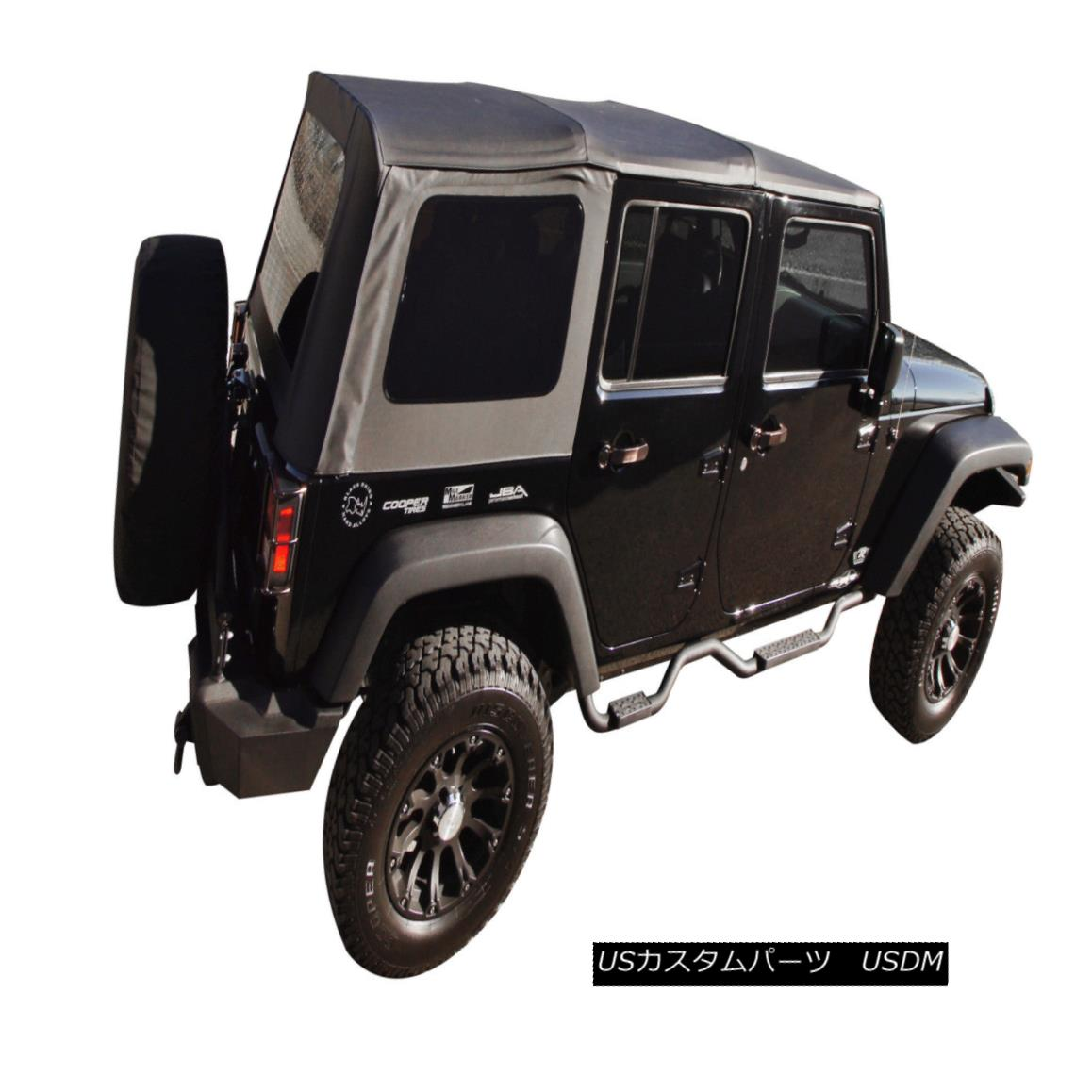 幌・ソフトトップ 2007-2009 JEEP WRANGLER UNLIMITED 4 DOOR REPLACEMENT BLACK SOFT TOP TINT WINDOWS 2007-2009 JEEP WRANGLER無制限4ドアの交換黒いソフトトップテントWINDOWS