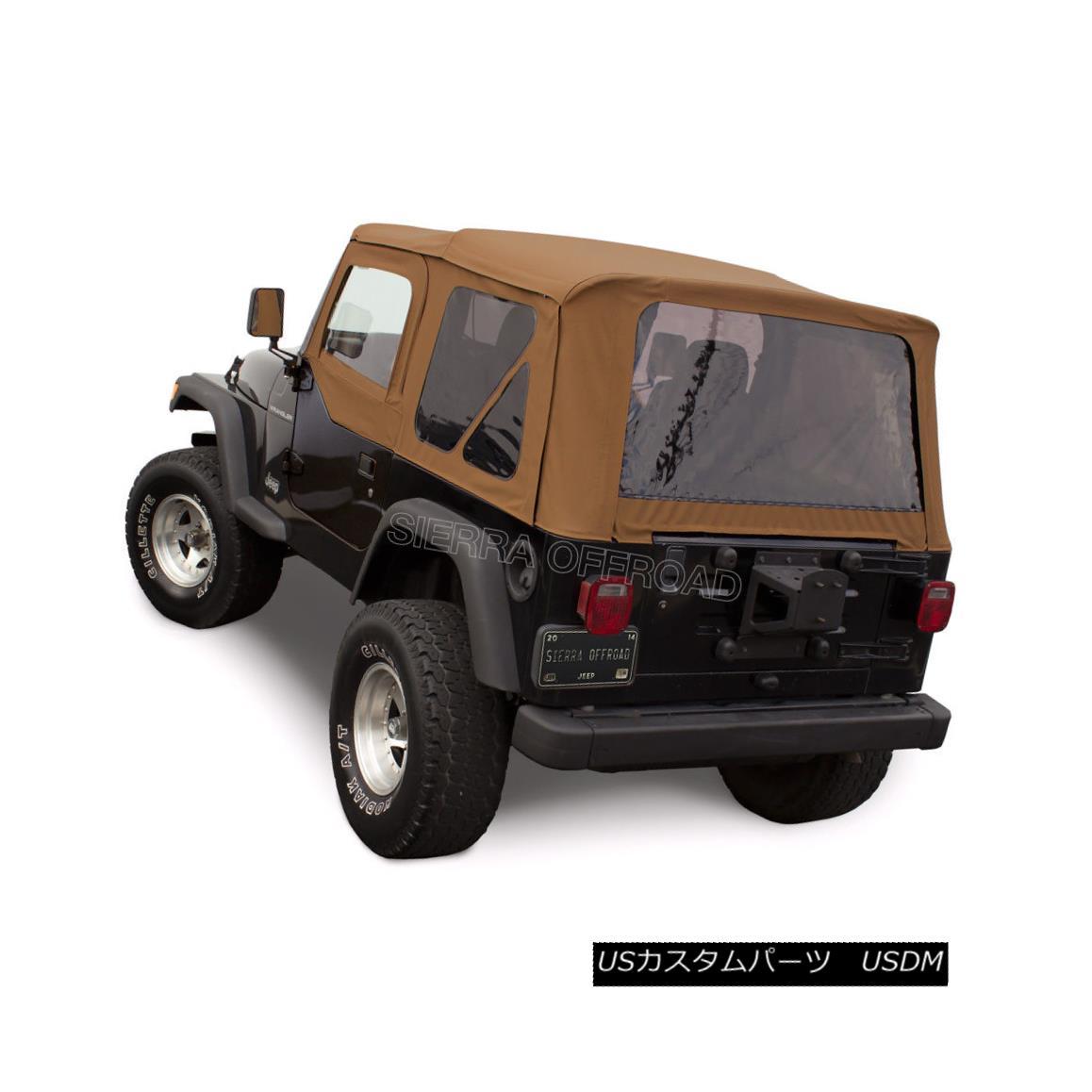 幌・ソフトトップ Jeep Wrangler TJ Soft Top, 97-02, Upper Doors, Tinted Windows, Spice ジープラングラーTJソフトトップ、97-02、上のドア、色づけされた窓、スパイス