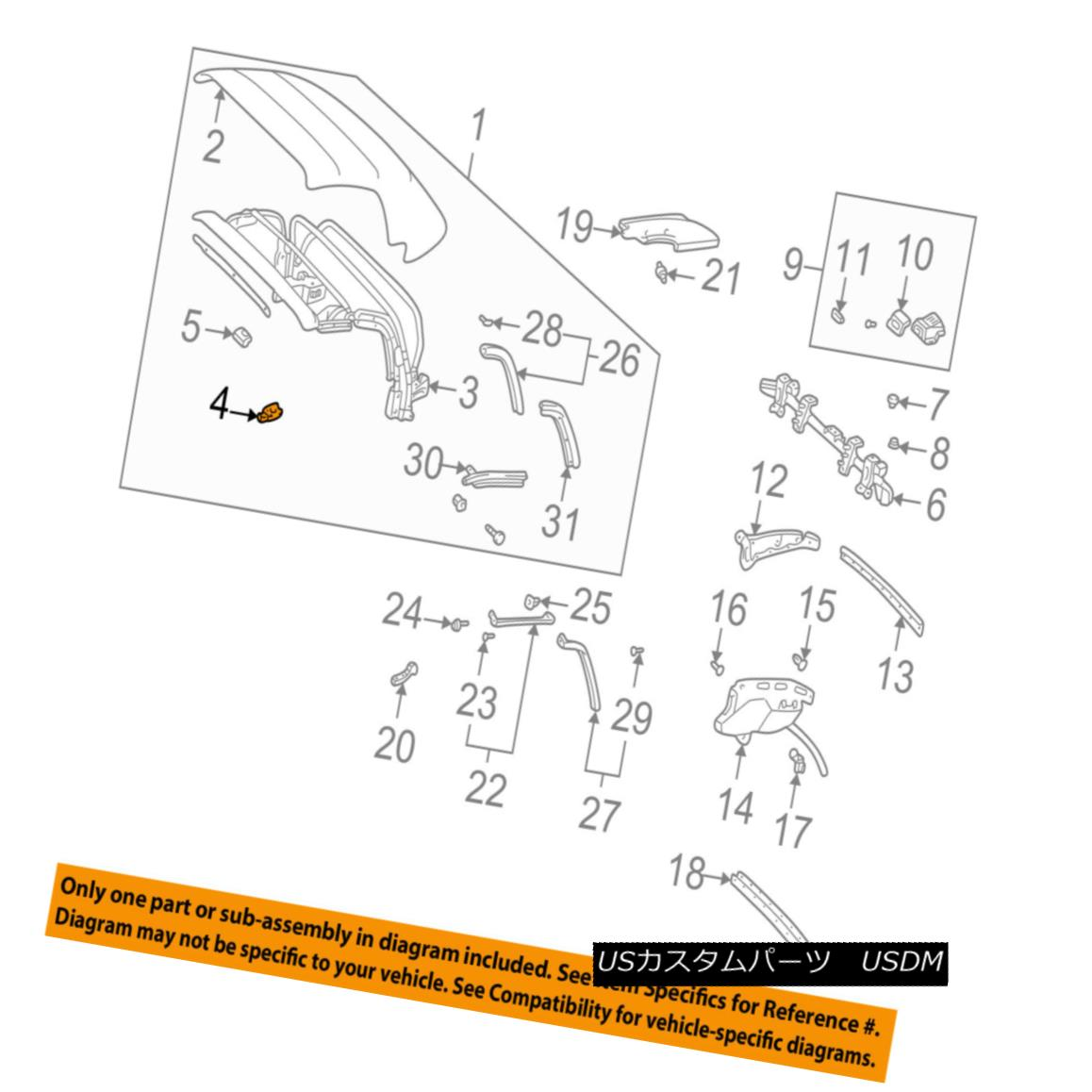幌・ソフトトップ TOYOTA OEM 00-05 MR2 Spyder Convertible/soft Top-Lock Right 6933017010 TOYOTA OEM 00-05 MR2 Spyder Convertible / so ftトップロック6933017010