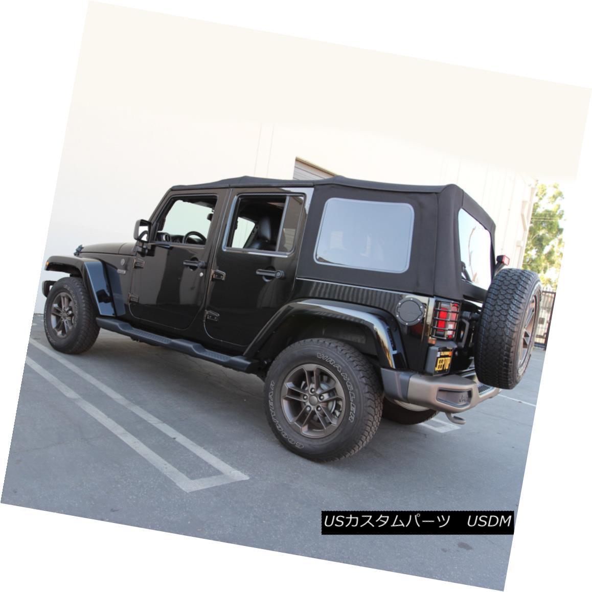 幌・ソフトトップ Jeep Wrangler 4DR JK Soft Top, 2010-17, Press Polish Windows, Black Canvas ジープラングラー4DR JKソフトトップ、2010-17、プレスポーランドのWindows、ブラックキャンバス