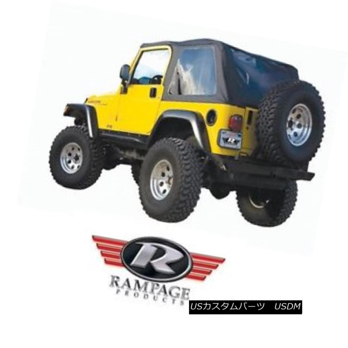幌・ソフトトップ Rampage Frameless Trail Top w/ Tint 97-06 Jeep Wrangler TJ 109735 Black ランペイジ・フレームレス・トレイル・トップ(色合いあり)97-06ジープ・ラングラーTJ 109735ブラック