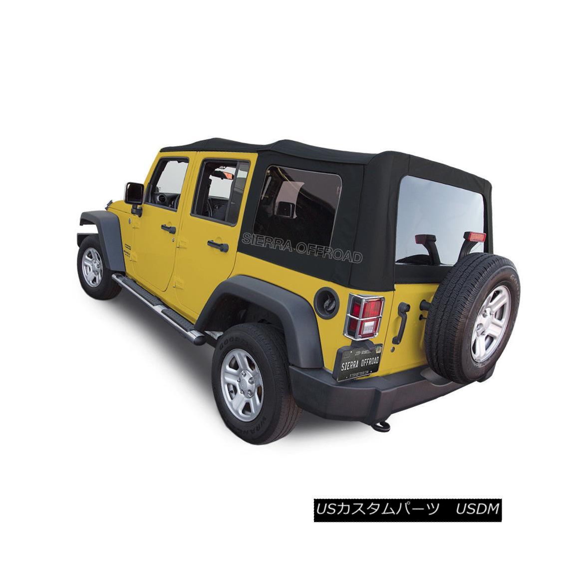 幌・ソフトトップ 2007-2009 Jeep Wrangler 4 DR JK Soft Top, Black Canvas 2007-2009ジープラングラー4 DR JKソフトトップ、ブラックキャンバス