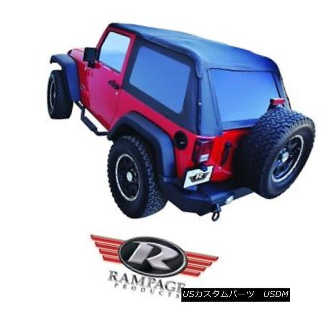 幌・ソフトトップ Rampage Frameless Trail Top w/ Tint 2007-2017 Jeep Wrangler JK 2 Dr 109935 Black ランペイジ・フレームレス・トレイル・トップ(ティント2007-2017)ジープ・ラングラーJK 2ドクター109935ブラック