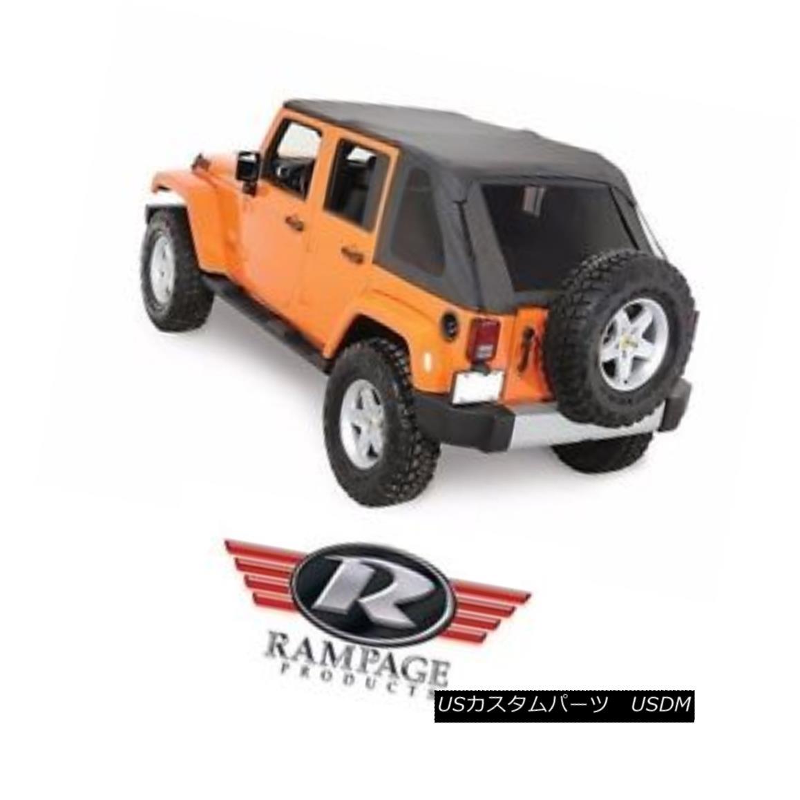 幌・ソフトトップ Rampage Frameless Trail Top w/ Tint 07-17 Jeep Wrangler JK Unlimited 4 Dr 109835 ランペイジフレームレストレイルトップ(色合いあり)07-17ジープラングラーJKアンリミテッド4 Dr 109835