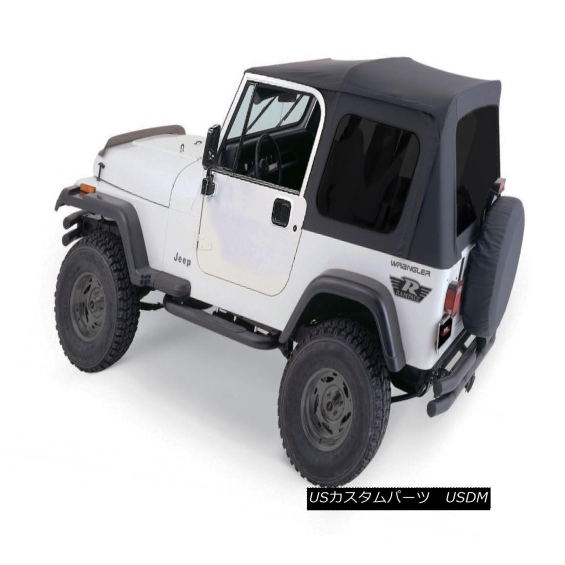 幌・ソフトトップ 1976-1995 Jeep Wrangler & CJ7 Soft Top Kit for Jeeps w/ Full Doors Black Tinted 1976-1995 Jeep Wrangler& ジーンズ用CJ7ソフトトップキットブラック/フルドア
