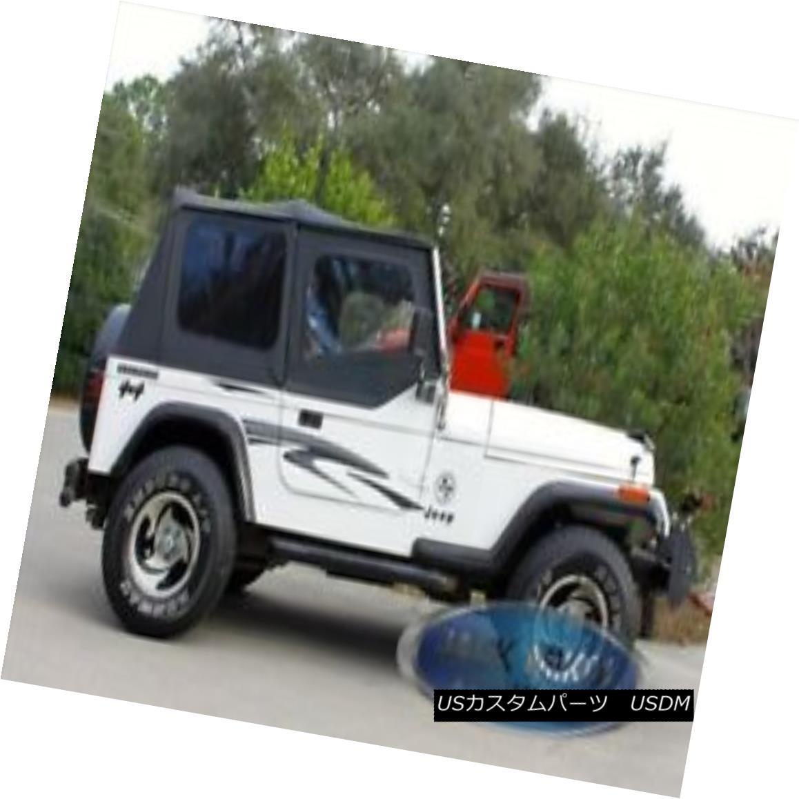 幌・ソフトトップ Black Replacement Soft Top Upper Doors Jeep Wrangler YJ 88-95 ブラック交換ソフトトップアッパードアジープラングラーYJ 88-95