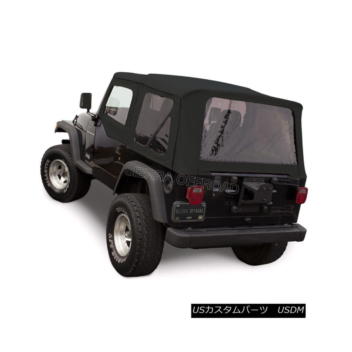 幌・ソフトトップ Jeep Wrangler TJ Soft Top, 1997-02, Tinted Windows, Upper Doors, Black Sailcloth ジープラングラーTJソフトトップ、1997-02、ティンテッドウインドウ、アッパードア、ブラックセイルクロス