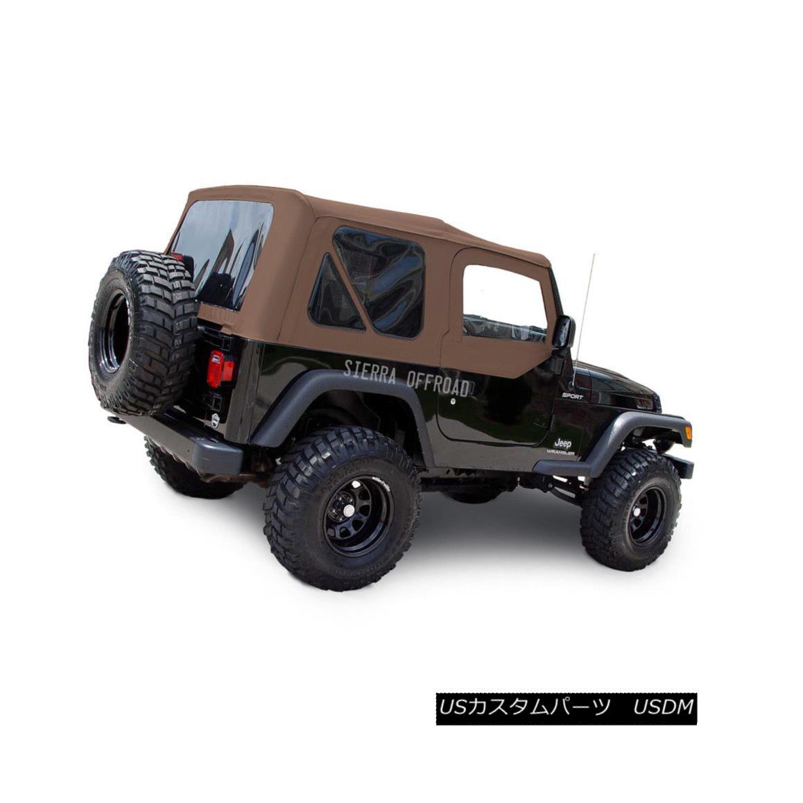 幌・ソフトトップ Jeep Wrangler TJ Soft top, 03-06, Tinted Windows, Upper Doors Saddle Sailcloth ジープラングラーTJソフトトップ、03-06、ティンテッドウインドウ、アッパードアサドルセイル